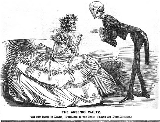 Arsenic waltz - cartoon of one well-dressed skeleton asking another to dance