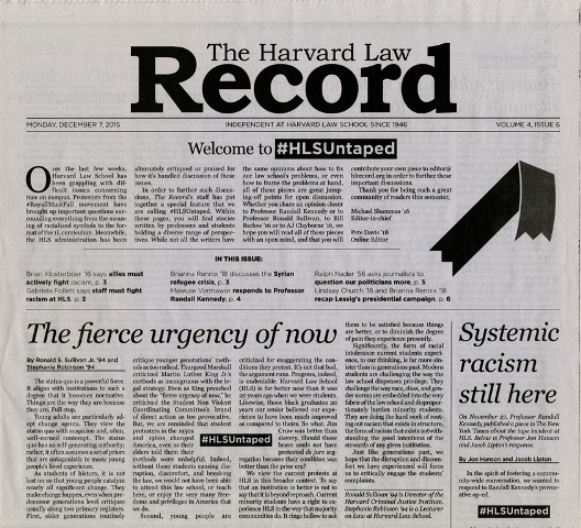 Above the fold Harvard Law Record issue for Dec 7 2015