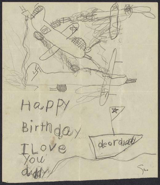 """I Love You Daddy"" drawing, by Gustave Alexander; Leo Alexander Papers, 1883-2001, Box 7, Folder 5"