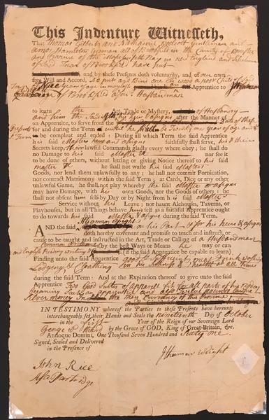 Indenture; printed form filled out in manuscript dated October 19, 1761; records the terms of apprenticeship of Eli Wood