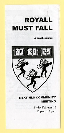 Front page of brochure by Royall Must Fall
