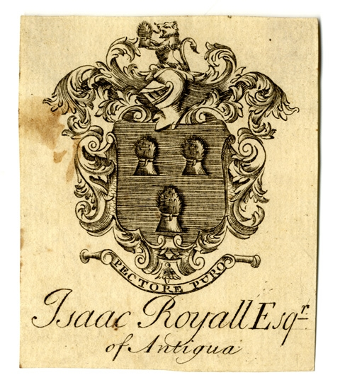 Image of bookplate of Isaac Royall, Sr.