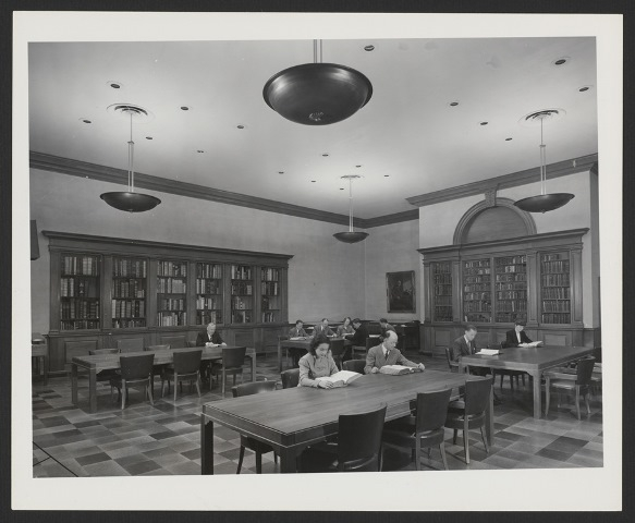 Black and white photograph of the recently opened Treasure Room
