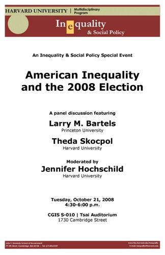 American Inequality and Election 2008 poster