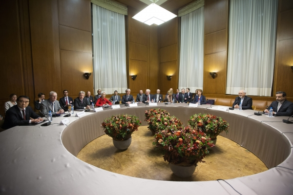 A general view shows participants before the start of three days of closed-door nuclear talks in Geneva, Switzerland, Wednesday,