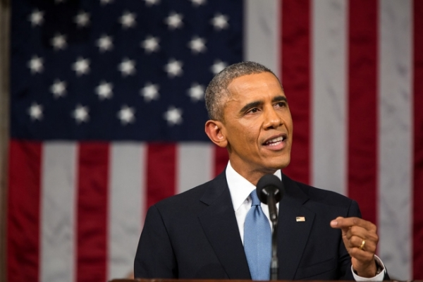 President Obama speaking at the State of the Union