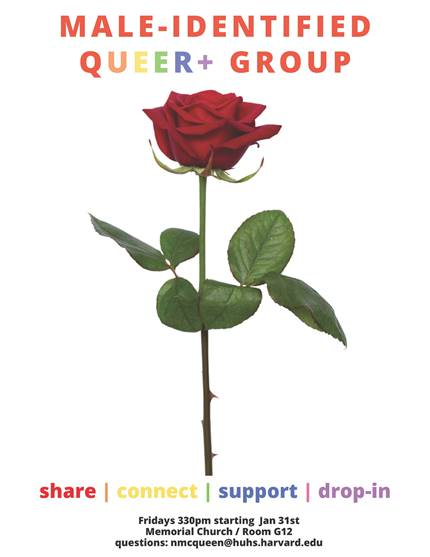 Image of red rose. Text: Male-identified Queer+ Group. Share, connect, drop-in, support. Fridays 3:30 pm starting January 31st. Memorial Church, Room G12. Questions: Nicolas McQueen nmcqueen@huhs.harvard.edu