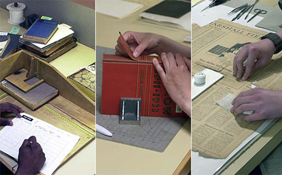 Collections Care staff measuring books, rebinding books, and repairing newspapers