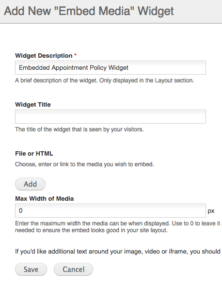 Embed Widget Settings