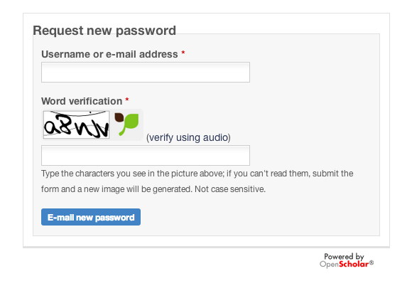 Request new password form
