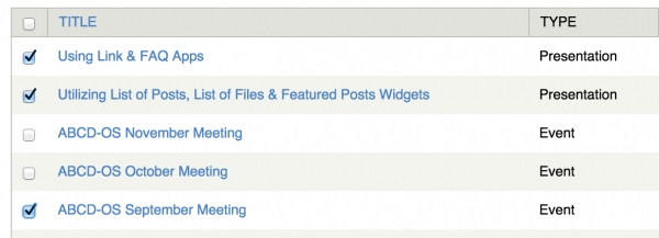select posts by toggling boxes