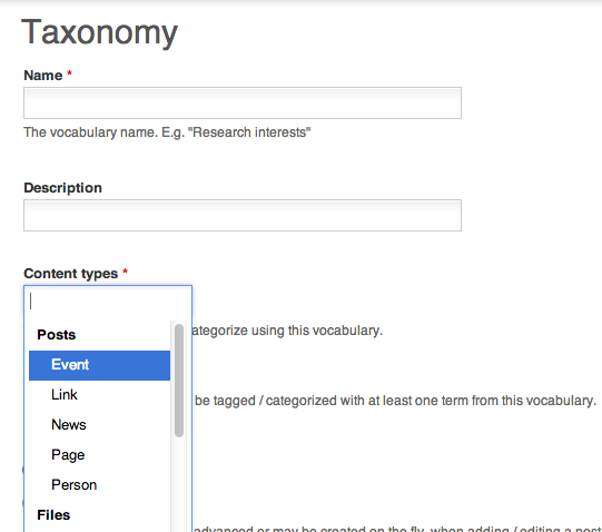 categorizing content with taxonomy openscholar documentation