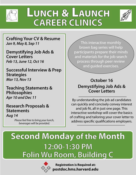 Lunch & Launch Career Clinics: Demystifying Job Ads And Cover