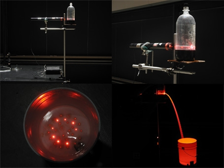 Photos of the laser, soda botle, bucket, and the scattering of the total internal relection