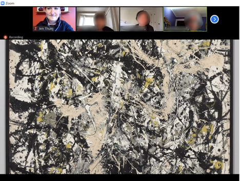 zoom call with class participants and image of artwork