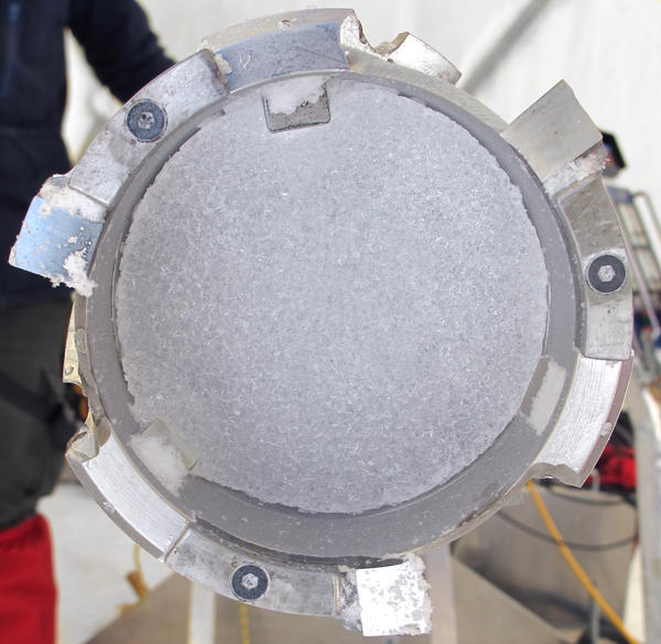 Colle Gnifetti ice core. Photo by Nicole Spaulding