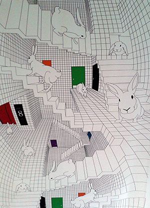 photo of Escher-like bunny mural in Leverett House