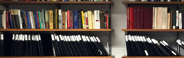 shelf of thesis binders