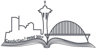 ComSciCon-PNW logo with space needle and bridges