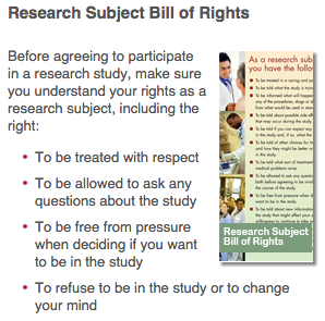 Research Subject Bill of Rights