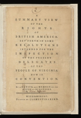 Title Page for Summary View of the Rights of British America