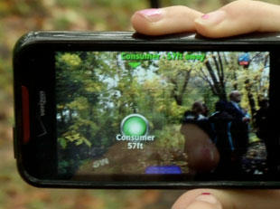 Photo of ecoMOBILE on a mobile device, showcasing the features of augmented reality.