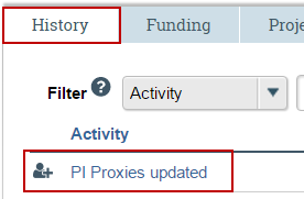 Image of how completed proxy activity appears on the study history