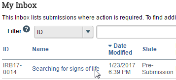 Image of the inbox with the name of submission highlighted