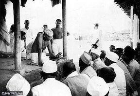 Gandhi at the Ashram