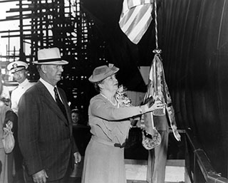 Secnav Frank Knox and Sponsor Mrs. Annie Reid Knox, at the launching ceremony, Newport News Shopbuilding & Drydock Co., 1943