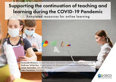 Book cover of Supporting the Continuation of teaching during COVID-19- children learning with face masks on