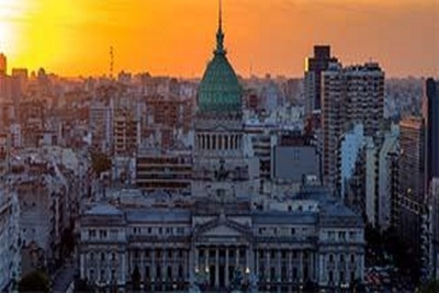 Orange sky above Argentinian city