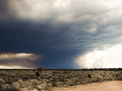 Australian landscape with large plume of smoke