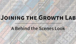 Faded multicolor rectangle with text 'Joining the Growth Lab: A Behind the Scenes Look'