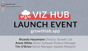 "Gray card with text ""Viz Hub Launch Event"""