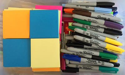Post it notes and markers