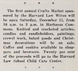 Harvard Law Record announcement of craft sale to benefit Child Care Center