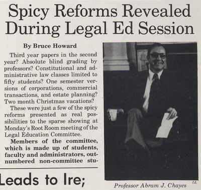 "Harvard Law Record headline ""Spicy Reforms Revealed During Legal Ed Session"""