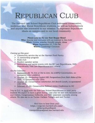 Harvard Law School Republicans event flyer