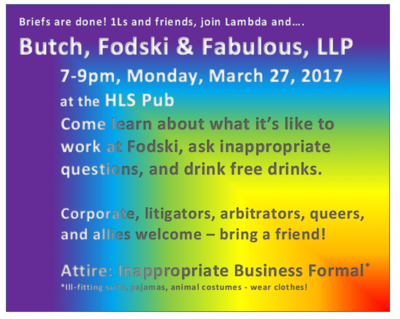 Flyer for Harvard Law School Lambda event