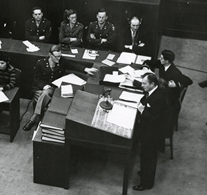 Justice Jackson speaking at the opening of the Nuremberg Trial