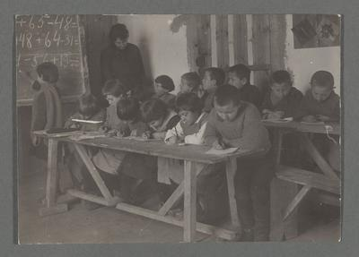 Photograph of Russian refugee children in a school room in either Constantinople or Smyrna, Turkey; Charles Claflin Davis Collection; 1920-1923
