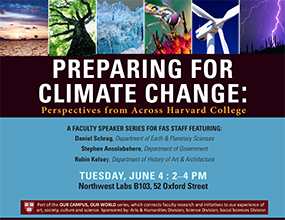 OCOW1 poster ('Preparing for Climate Change' with Daniel Schrag, Stephen Ansolabehere, and Robin Kelsey. 4 June 2013.)