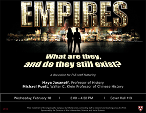 OCOW3 poster ('Empires' with Maya Jasanoff and Michael Puett. 18 Feb 2015.)