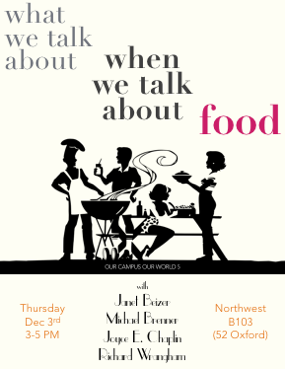 OCOW5 poster ('What We Talk About When We Talk About Food' w/ Janet Beizer, Michael Brenner, Joyce E. Chaplin, Richard Wrangham. 3 Dec 2015.)