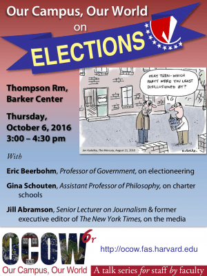 OCOW6r poster (OCOW on Elections w/ Gina Schouten, Eric Beerbohm, Jill Abramson. 6 Oct 2016.)