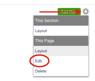 Edit Settings of a page