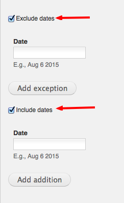 exclude include dates