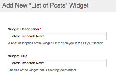List of Posts widget settings - title and description
