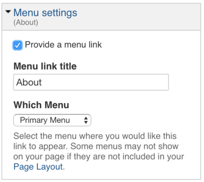 url menu settings